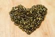 Pumpkin seeds in heart shape