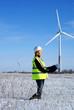 engineer with wind turbines