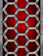 Hexagons Grunge Red and Metal Background