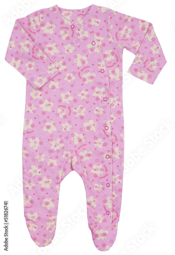 Pink romper with a flower pattern. Isolated on white background.