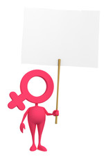 Venus toon symbolic personage holding white paper blank placard