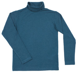 Blue turtleneck. Isolated on a white background.