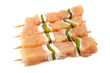 raw chicken skewers with paprika