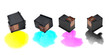 Colour Ink Cartridges on White Background - 51828780