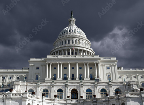 Capitol Dome with Dark Storm Sky