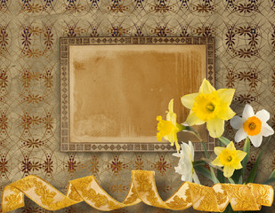 Vintage postcard for invitation with bunch of yellow narcissi