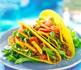 Mexican beef tacos in hard shells