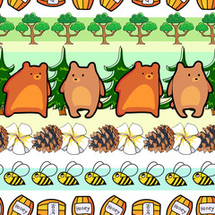 bears and bees in the forest