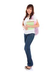Full body Asian female student