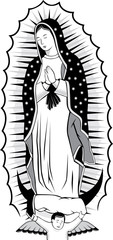 Virgin of Guadalupe black and white