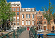 Amsterdam canal bridge and typical houses