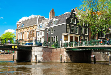 Canal and bridge in Amsterdam, Netherlands