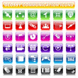vector illustration of set of glossy communication button