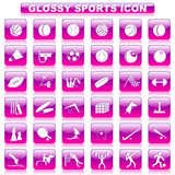 vector illustration of complete set of glossy sports button