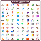 vector illustration of set of media and communication icon