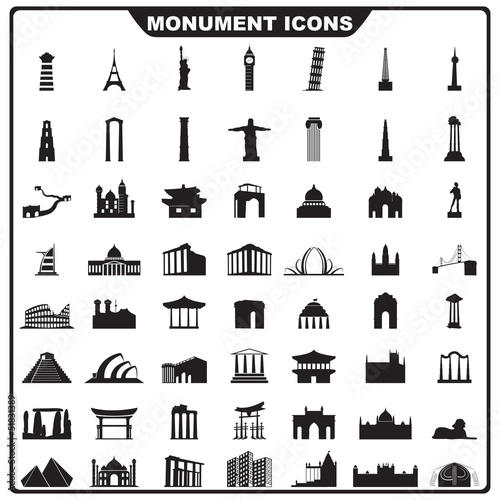 vector illustration of complete set of monument icon