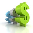 green blue gray dollar signs row on white