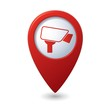 Map pointer with surveillance camera icon