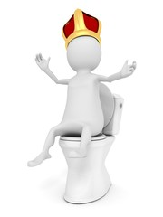 3d man funny king with crown on the closet