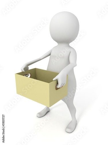 3d man carries empty cardboard box