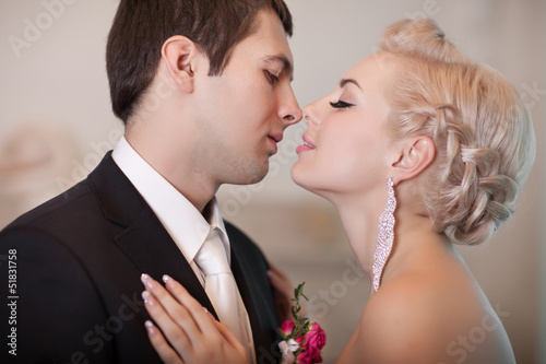 romantic bride and groom at wedding day