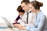 Call customer service consultants working