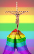 Old woman with catholic crucifix, isolated, rainbow flag pattern