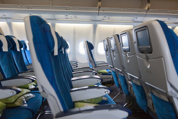 Interior of transcontinental aircraft with comfortable seats