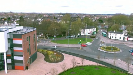 Busy Traffic at a Roundabout - Stafford England