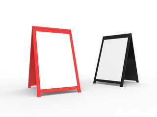 Two blank foldable advertising boards