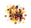 A mixture of dried fruits on a white background (Top view)