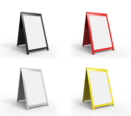 Four blank foldable advertising boards