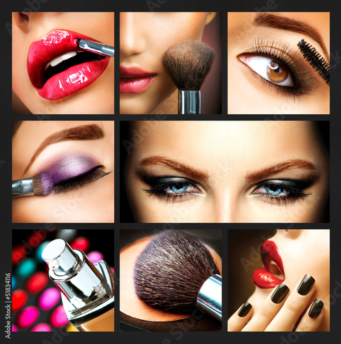Leinwandbild Motiv Makeup Collage. Professional Make-up Details. Makeover