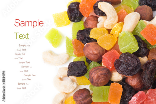 A mixture of dried fruits - background