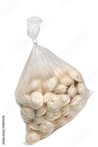 raw dumplings in a plastic cellophane bag