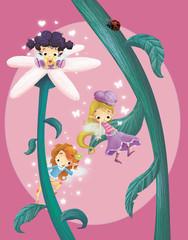 niñas en una flor