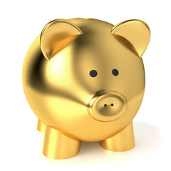 Golden Piggy Bank Savings Concept