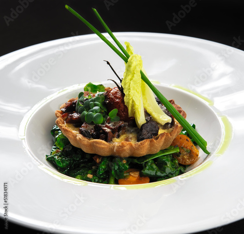 Wild mushroom tartlet with vegetable salad