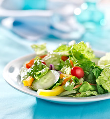 garden salad with fresh vegetables with copy space composition