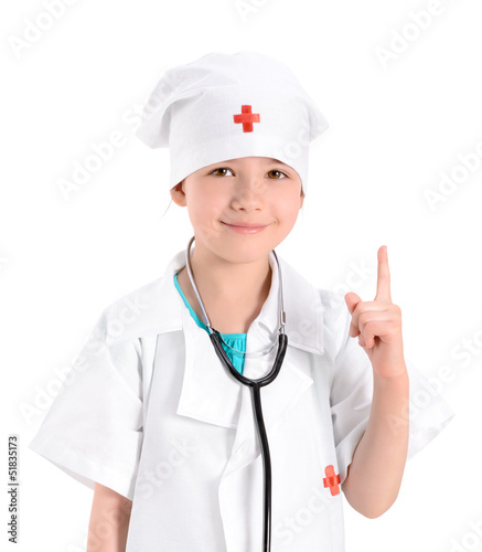 Smiling little girl playing doctor