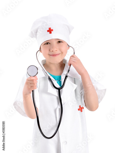 Smiling little nurse holding stethoscope