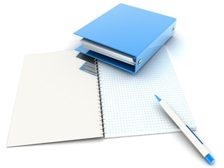 folder for documents with a Notepad and pen