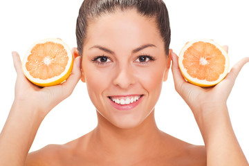 young healthy smiling woman with orange