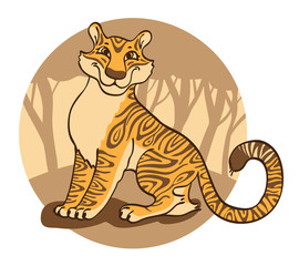Cheerful  tigress on a brown  background