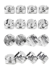 Collage of a set of four polished chrome forged pistons