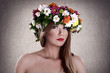 Sensual woman with flower wreath
