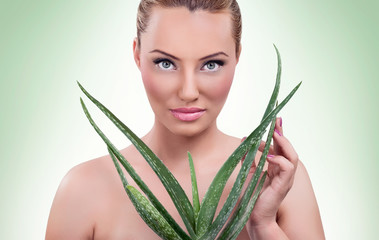 Beautiful woman with aloe