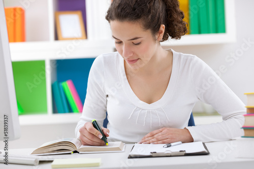 teenager student doing homework