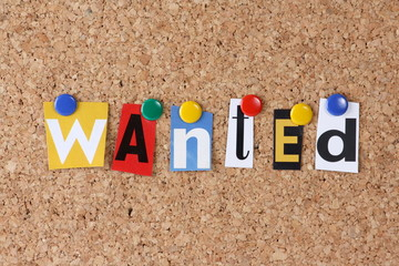 Wanted in cut out magazine letters