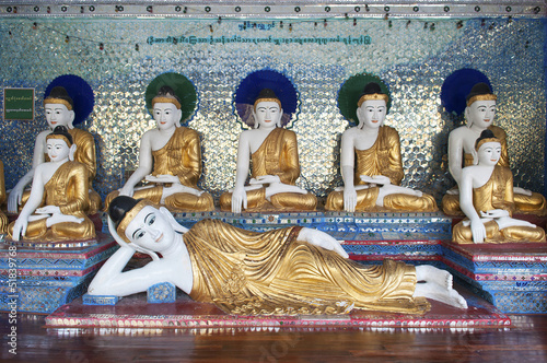 buddha figures in shwedagon pagoda of yangon myanmar
